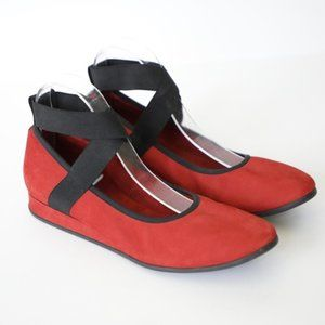 Arche Red Suede Leather Strappy Flats 8.5/9
